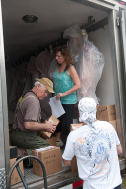 Loading the truck at Vermont Quality Meats for a delivery